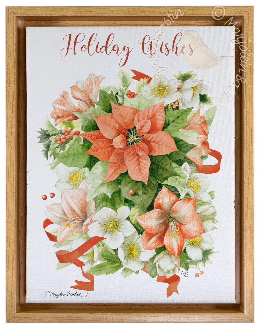 "Holiday Wishes - 9"" x 12"" Gallery Wrapped Canvas (Light Oak Floater Frame Frame)"