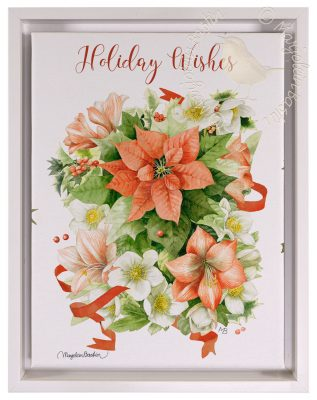 "Holiday Wishes - 9"" x 12"" Gallery Wrapped Canvas (White Wash Floater Frame Frame)"