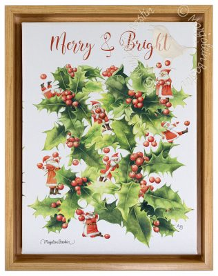 "Merry and Bright - 9"" x 12"" Gallery Wrapped Canvas (Light Oak Floater Frame Frame)"