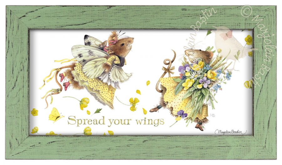 "Spread your Wings  - 9 3/8"" x 16 3/8"" Framed Prints (Mint Green Frame)"