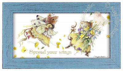 "Spread your Wings  - 9 3/8"" x 16 3/8"" Framed Prints (Light Blue Frame)"