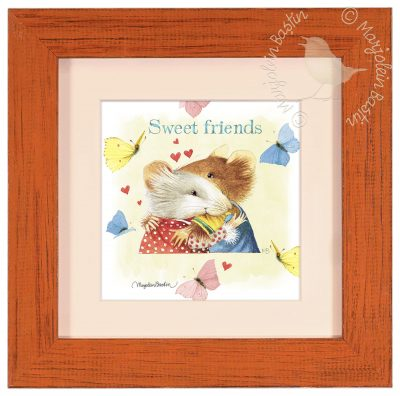 "Sweet Friends - 9"" x 9"" Framed Prints (Tiger Lily Red Frame)"