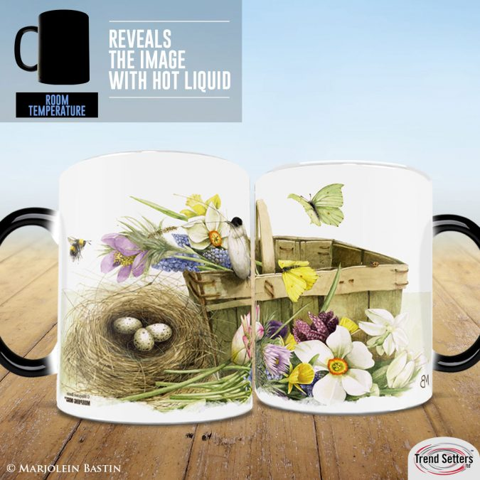 Heat changing mugs featuring Marjolein Bastin Art