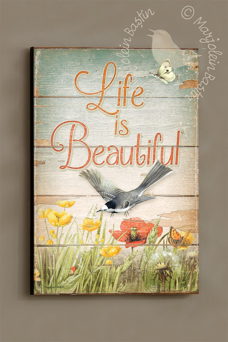 "Life is Beautiful - 18'' x 12"" Wood Sign"