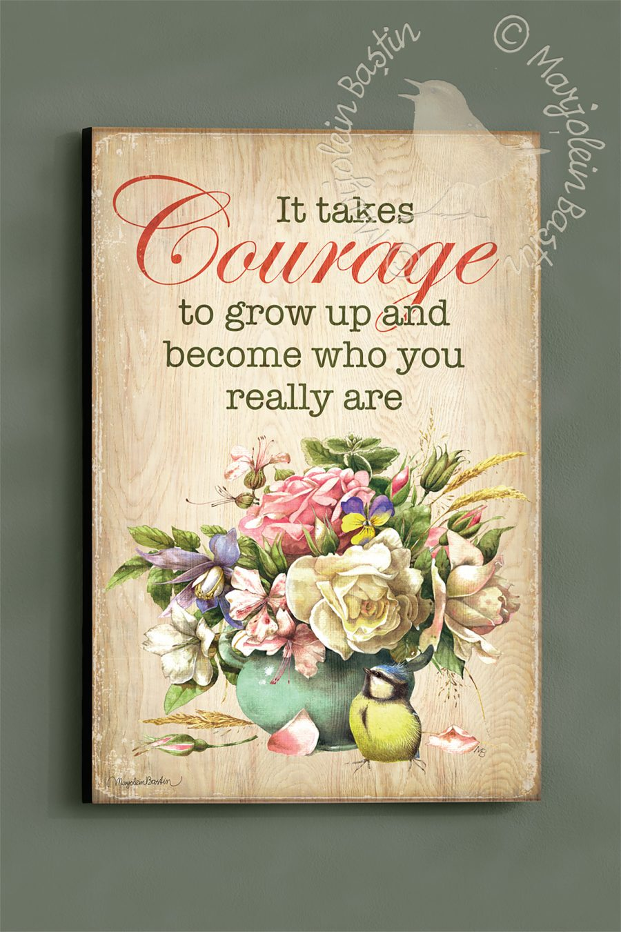 "It Takes Courage - 18'' x 12"" Wood Sign"