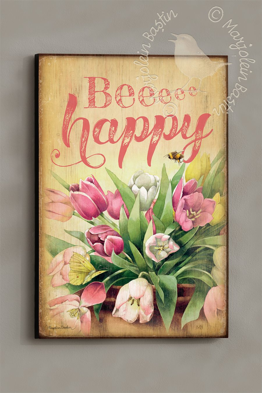 "Bee Happy - 18'' x 12"" Wood Sign"