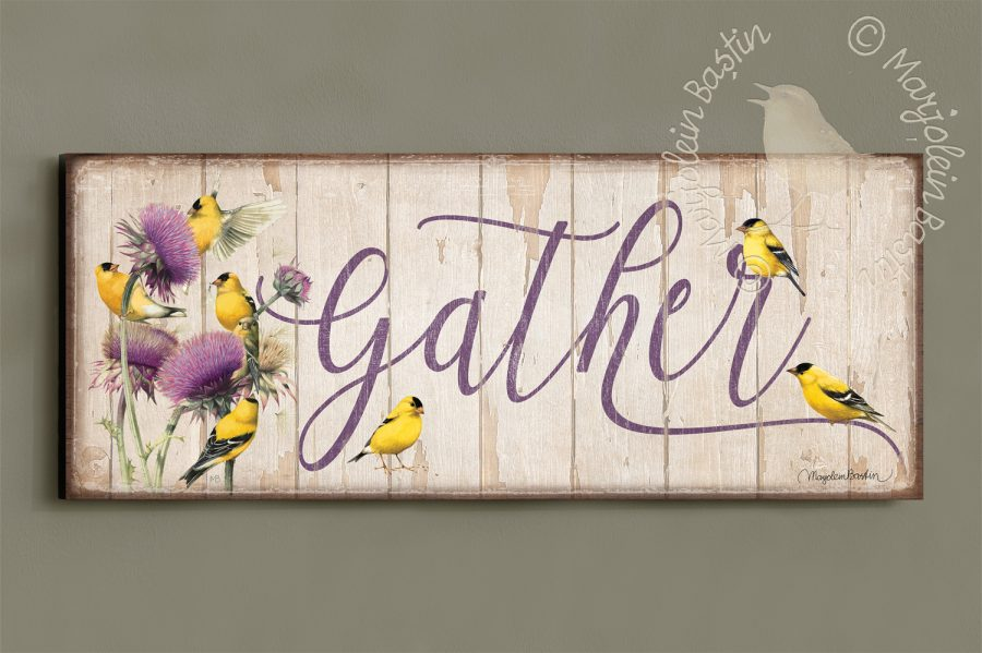 Gather - 12'' x 30'' Wood Sign