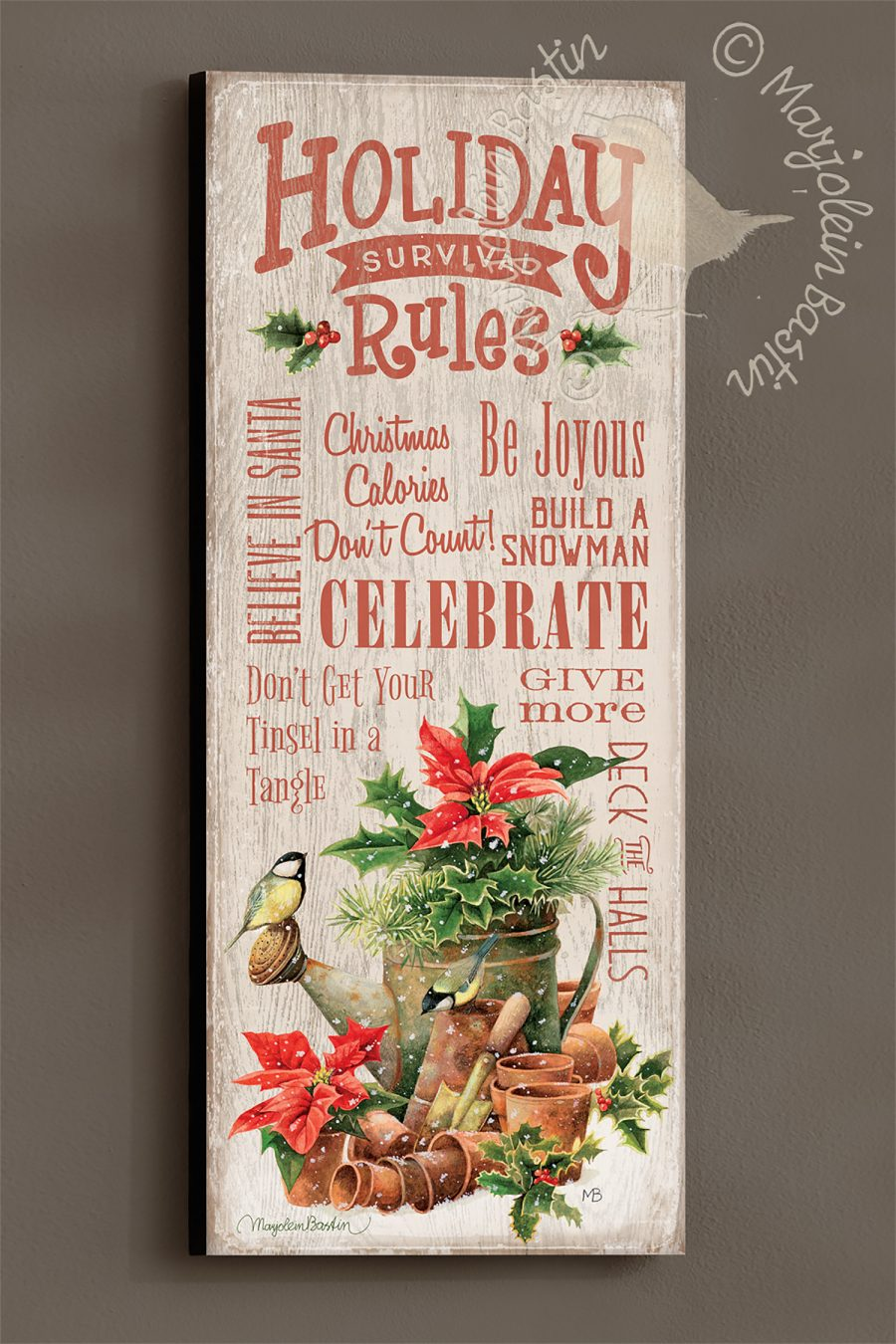 "Holiday Rules - 30'' x 12"" Wood Sign"