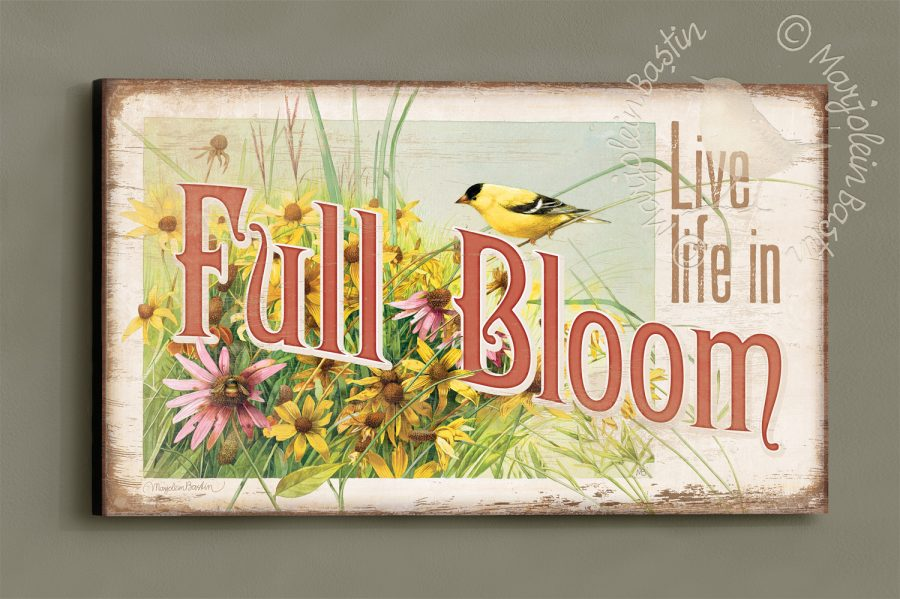Live Life in Full Bloom - 18'' x 30'' Wood Sign