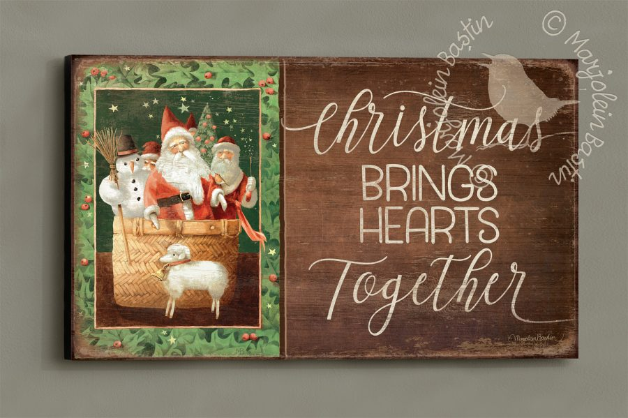 Christmas Brings Hearts Together - 18'' x 30'' Wood Sign