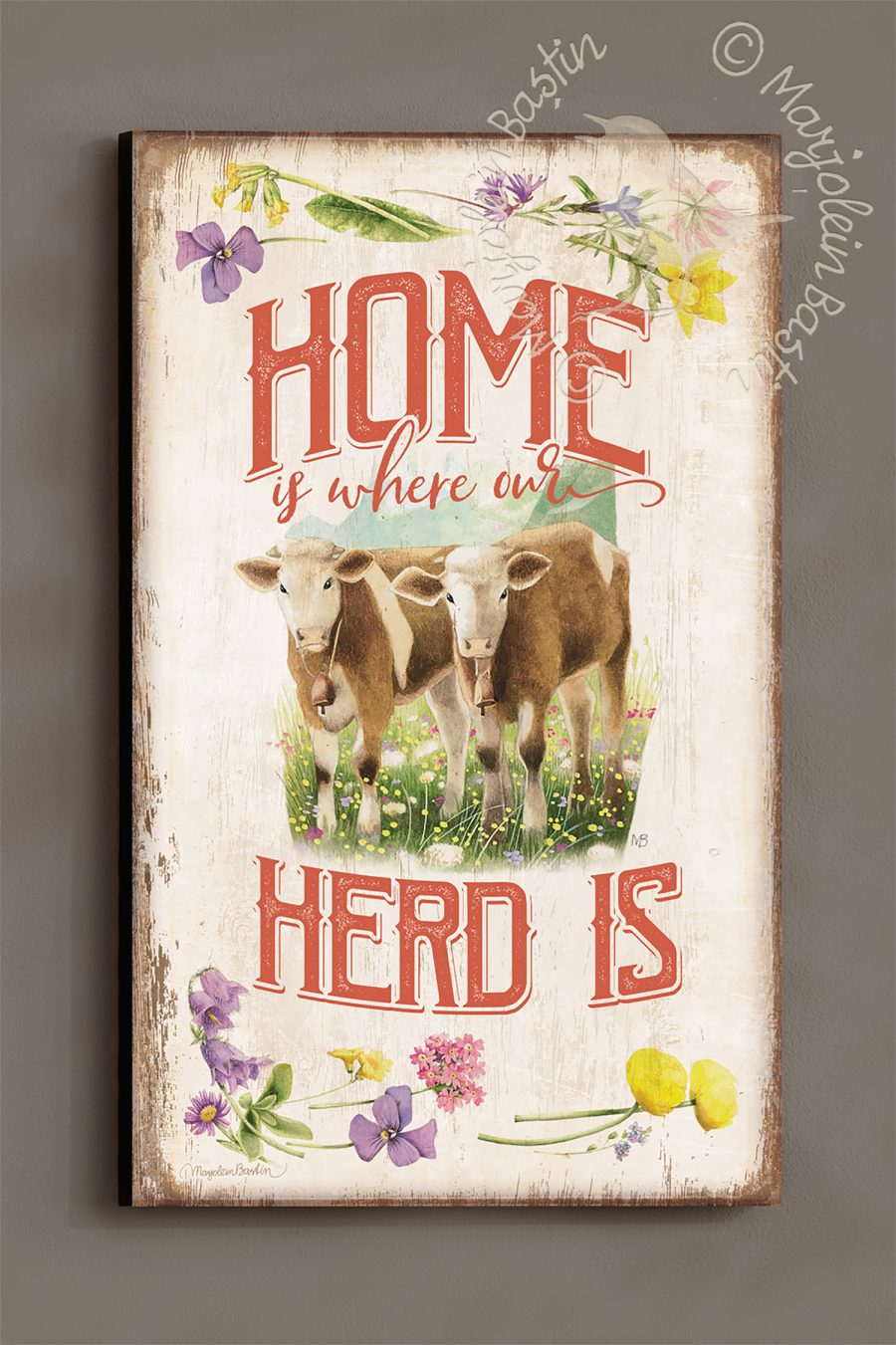 "Home is Where our Herd Is - 30'' x 18"" Wood Sign"