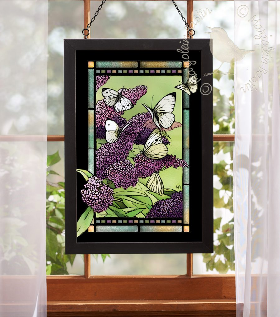 "Purple Lilacs - 18"" x 12"" Stained Glass"