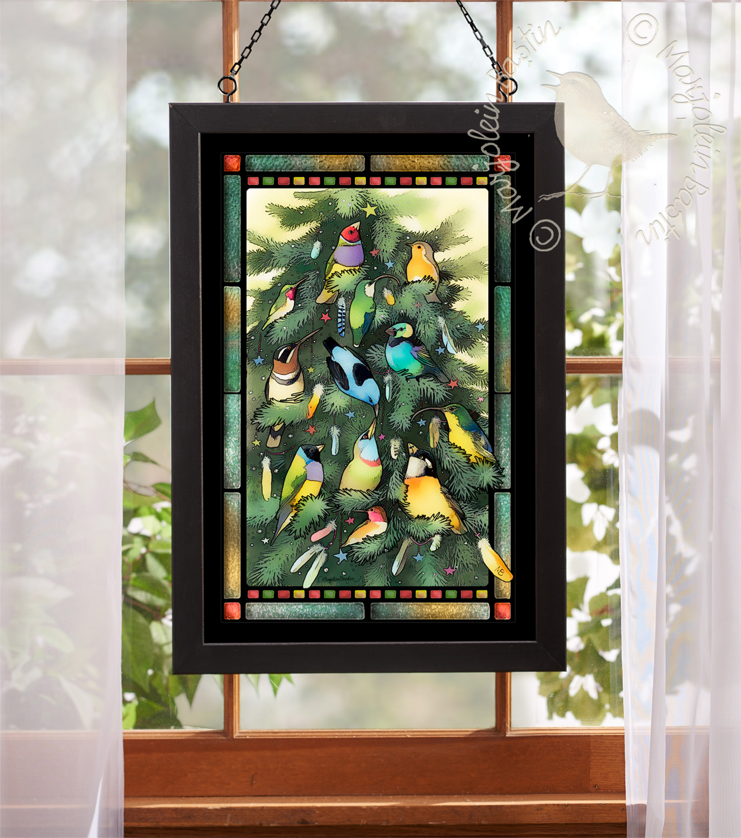 Exotic Christmas 20 X 14 Stained Glass Art Black Frame