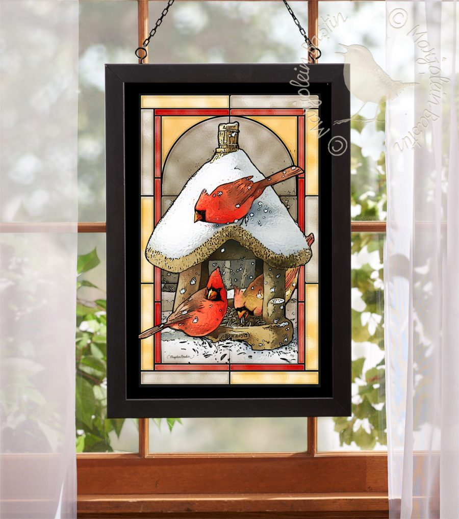 "Cardinals at Birdfeeder - 18"" x 12"" Stained Glass"
