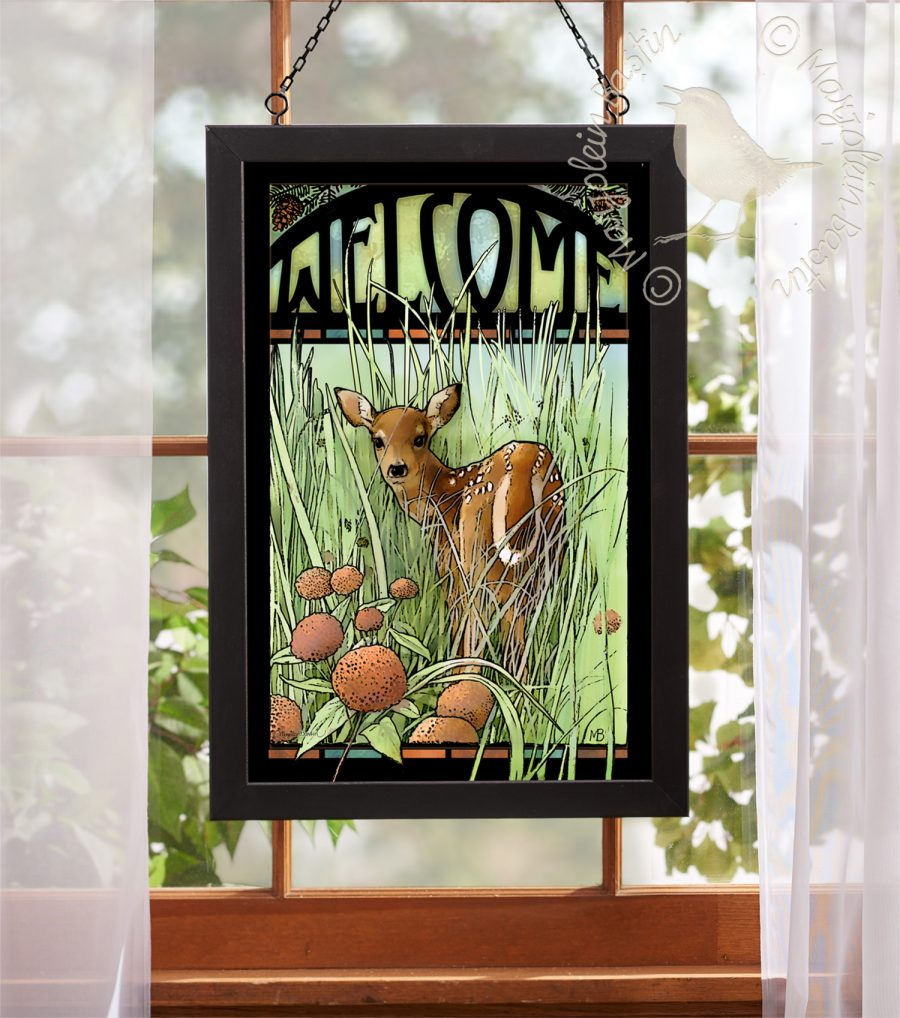 "Welcome; Fawn - 18"" x 12"" Stained Glass"