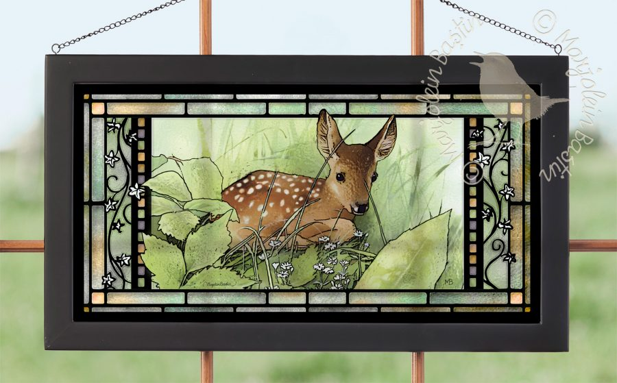 "Hidden Fawn - 11.50"" x 21.25"" Stained Glass"