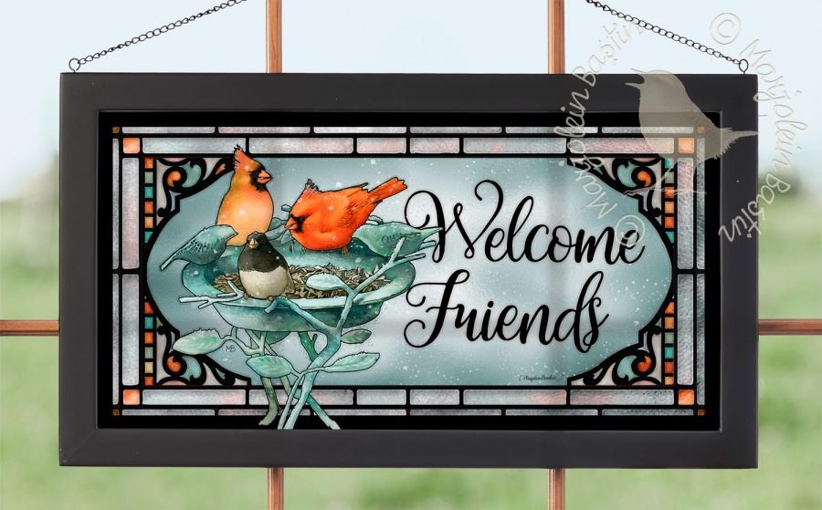 "Welcome Friends - 11.50"" x 21.25"" Stained Glass"
