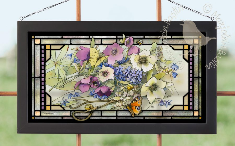 "Gardener's Delights - 11.50"" x 21.25"" Stained Glass"