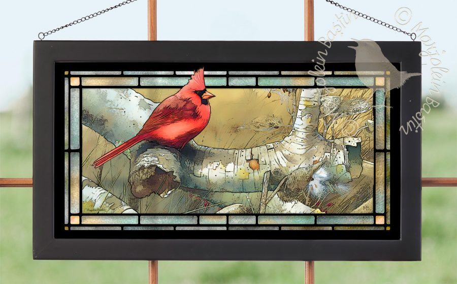 "Cardinal on Fallen Birch - 11.50"" x 21.25"" Stained Glass"