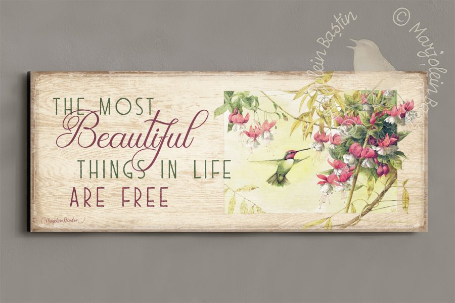 Whispers of a Hummingbird - 12'' x 30'' Wood Sign