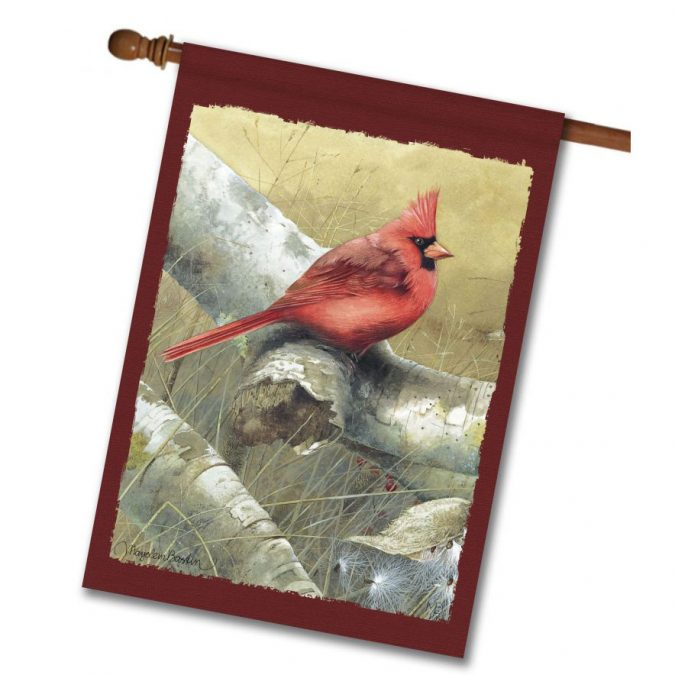 Marjolein Bastin's Cardinal in the Fall House Flag