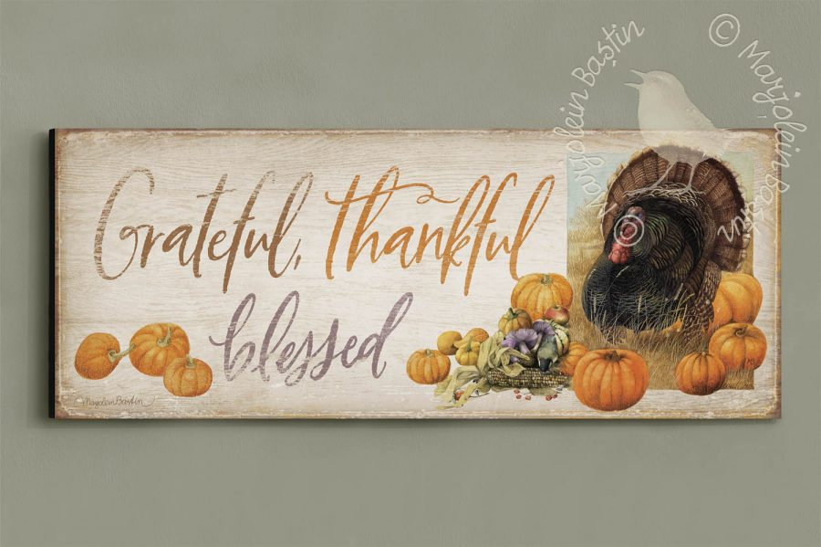 "Grateful, Thankful, Blessed - 12"" x 30"" Wood Sign"