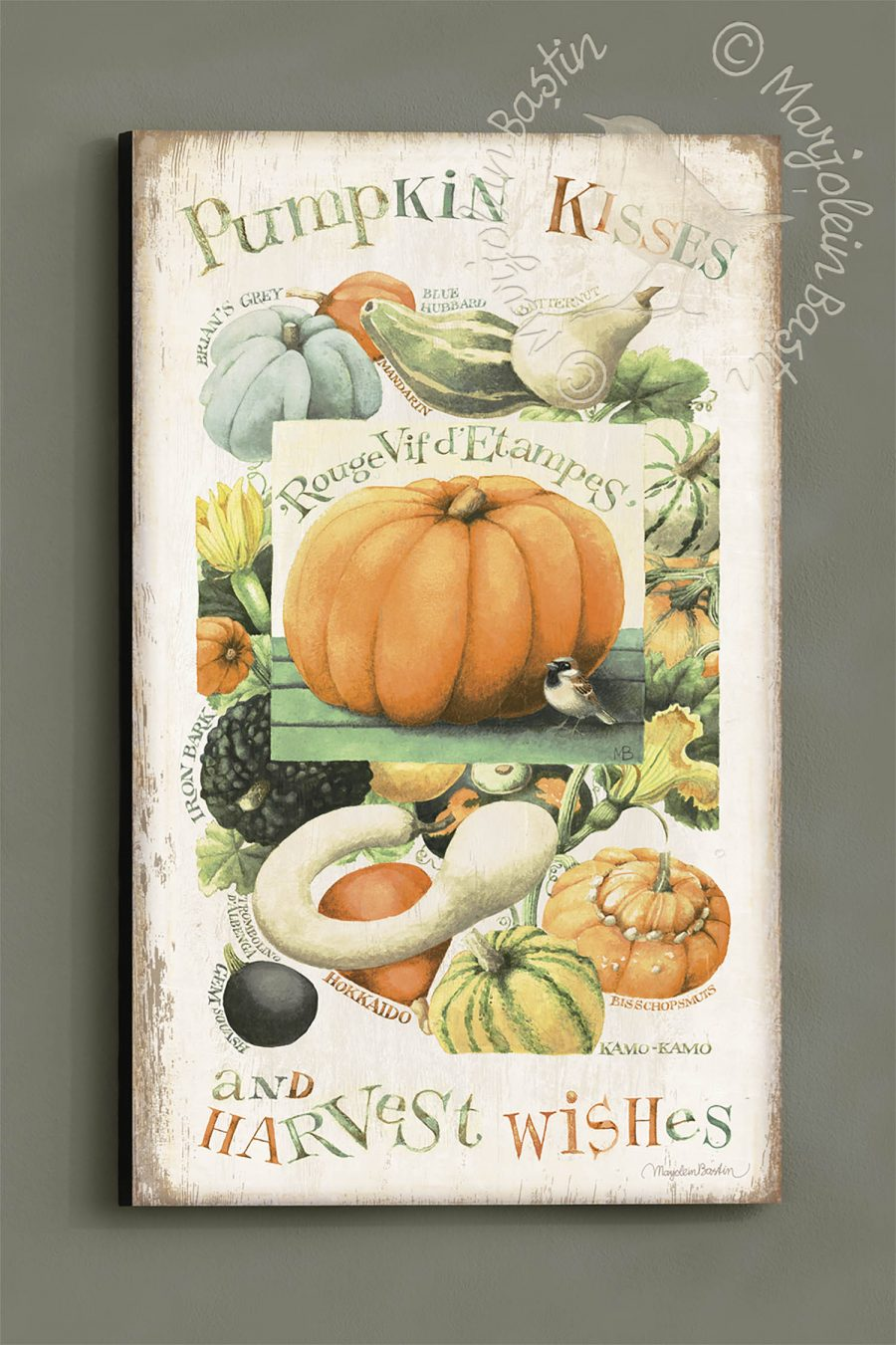 "Pumpkin Kisses & Harvest Wishes - 30"" x 18"" Wood Sign"