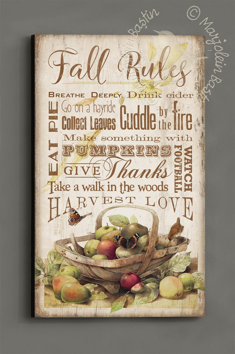 "Fall Rules - 30"" x 18"" Wood Sign"