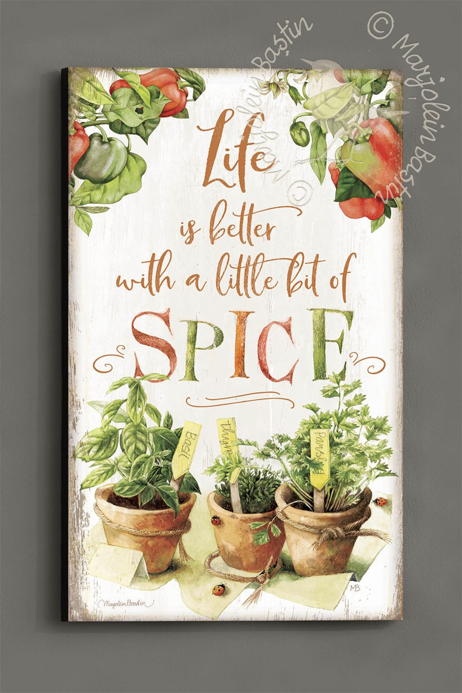 "Life is Better with a little bit of Spice - 30"" x 18"" Wood Sign"
