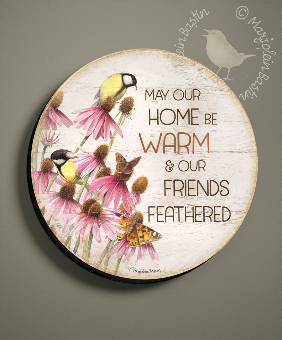 "Warm Home, Many Friends - 21"" Wood Sign"