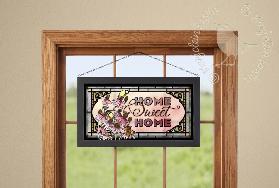 "Home Sweet Home - 13"" x 23"" Stained Glass Art"
