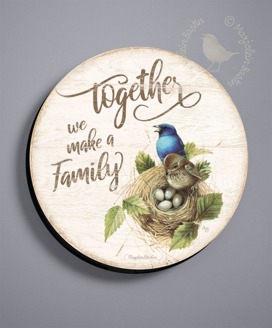 "Together We Make a Family - 21"" Round Wood Signs"