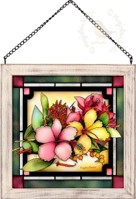 Tropical Bouquet 9x9 Stained Glass Art with Whitewash Frame