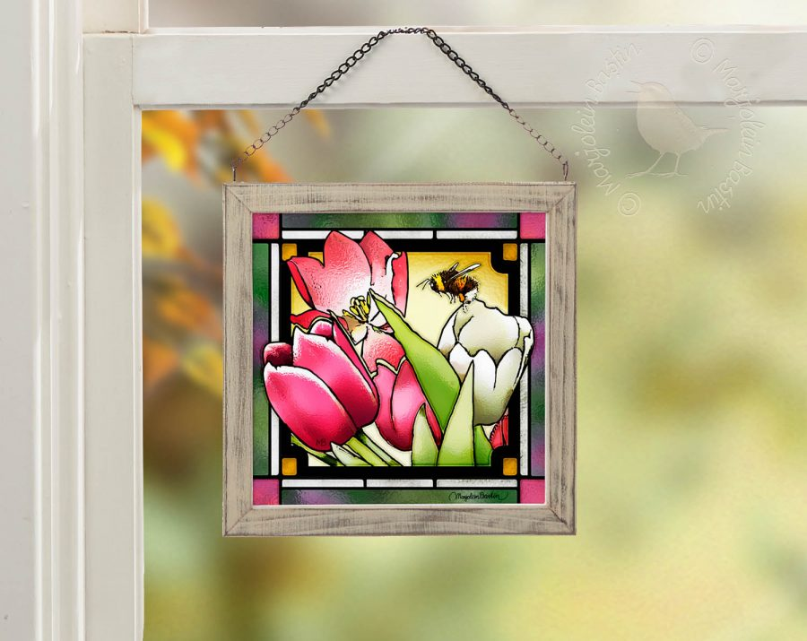 Tulip Treasure 9x9 Stained Glass Art with Whitewash Frame