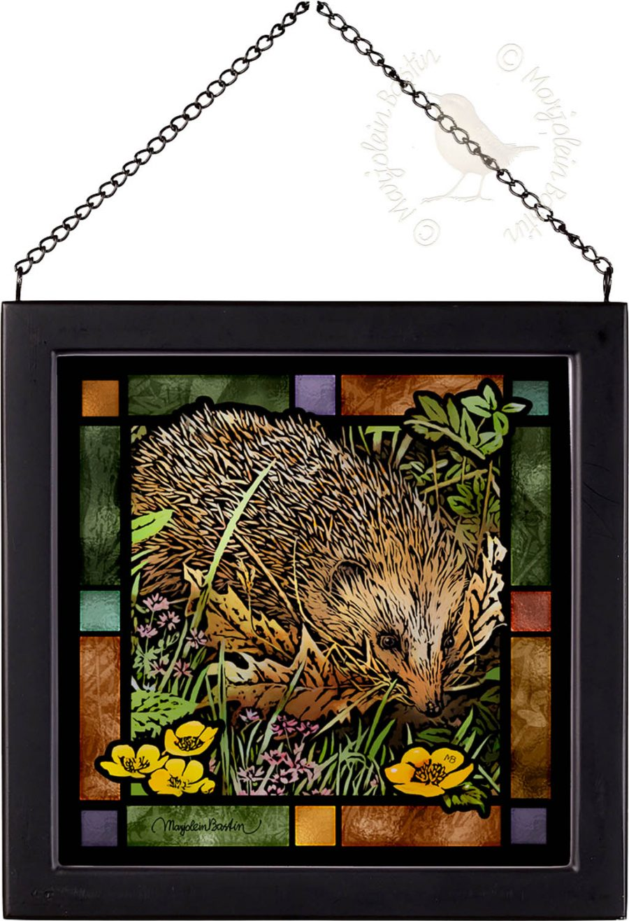 Woodland Visitor 9x9 Stained Glass Art with Black Frame