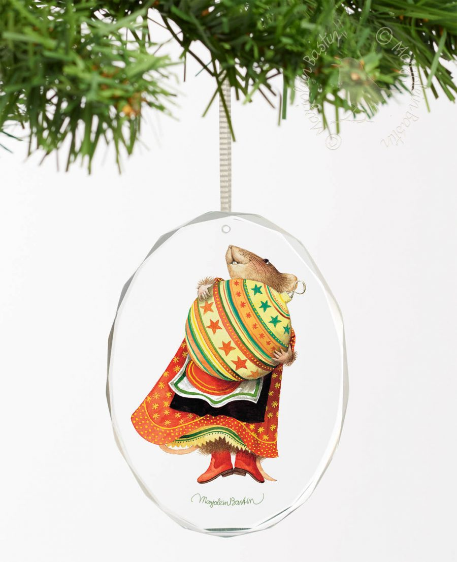 "Vera the Mouse; Christmas Baubles - 3.5"" x 3"" Oval Glass Ornament"