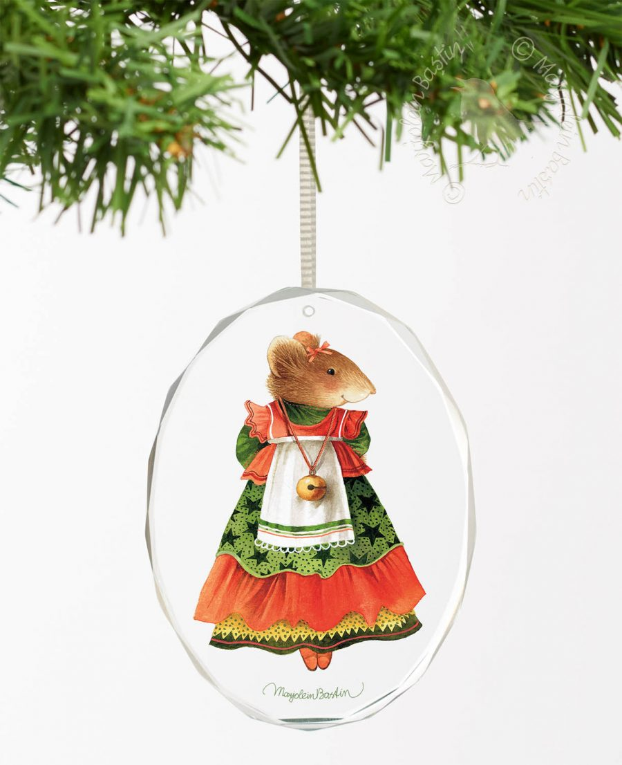 "Vera the Mouse; Christmas Finery - 3.5"" x 3"" Oval Glass Ornament"