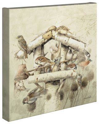 "Dinnertime At The Feeder - 14"" x 14"" - Gallery Wrap Canvas"