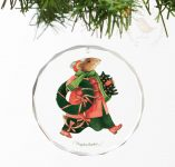 "Vera the Mouse; Holiday Greenery - 3""  Round Glass Ornament"