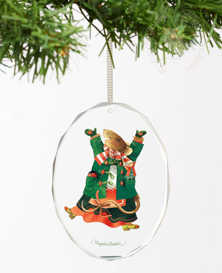 "Vera the Mouse; Jump for Holiday Joy - 3.5"" x 3"" Oval Glass Ornament"