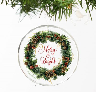 "Merry & Bright - 3"" Round Glass Ornament"