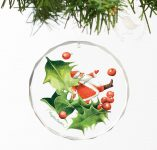 "Santa Playing with Holly - 3"" Round Glass Ornament"
