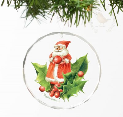 "Santa Playing with Holly II - 3"" Round Glass Ornament"