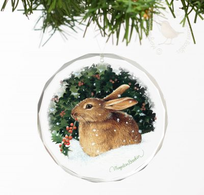 "Snowy Perch Bunny - 3"" Round Glass Ornament"