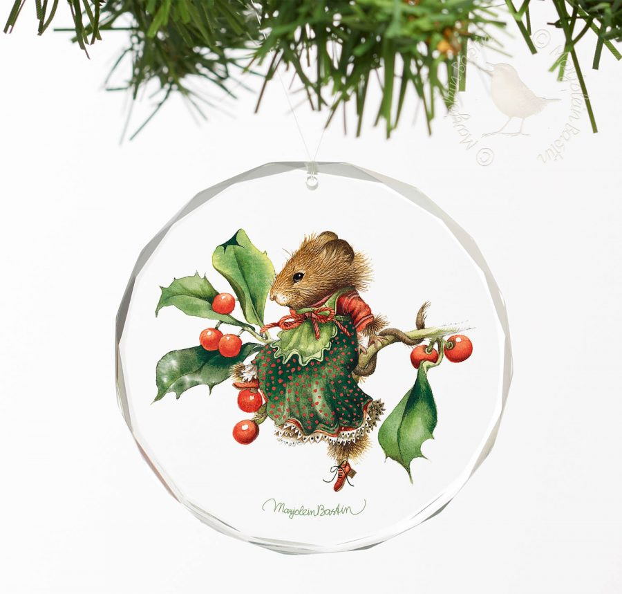 "Vera the Mouse; Taking a Rest - 3"" Round Glass Ornament"