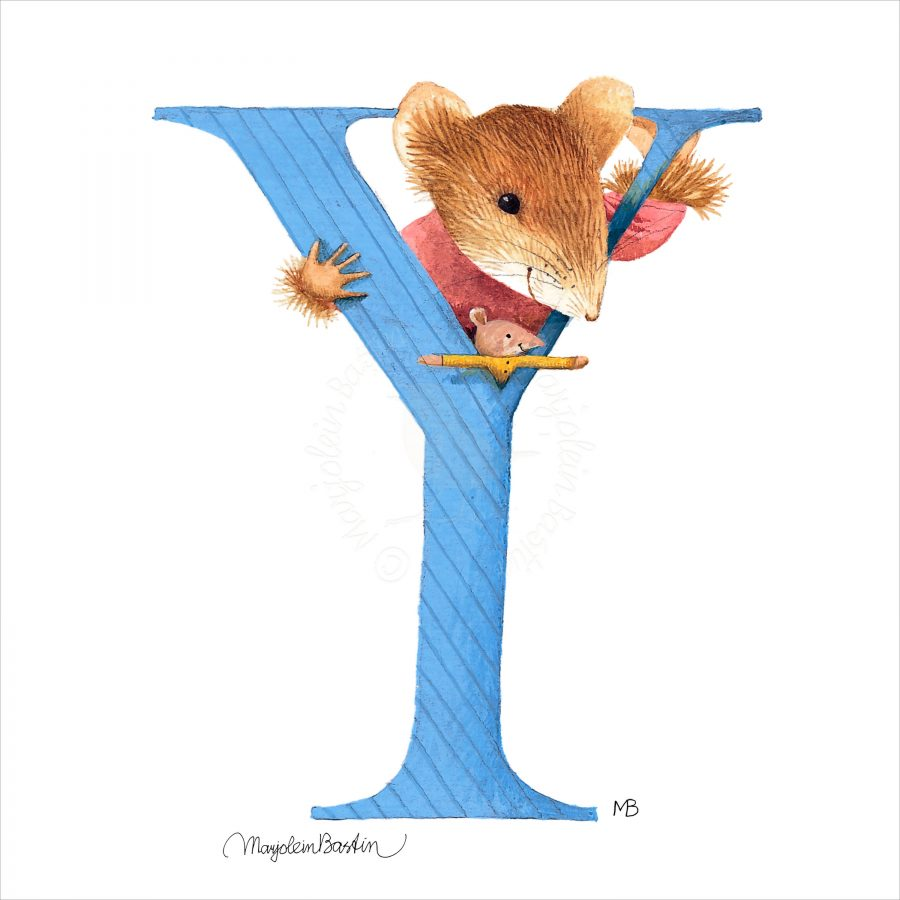 """Vera the Mouse - 6"""" x 6"""" Box Art (Letter Y)"""