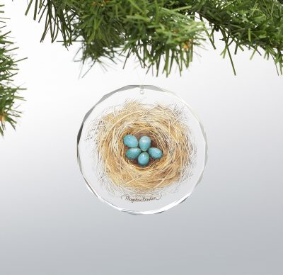 "My First Bluebird - 3"" x 3"" Round Glass Ornament"