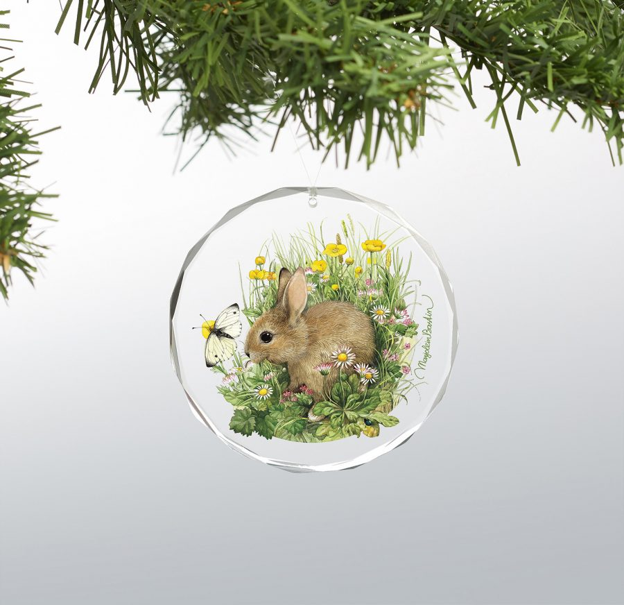 "Young Bunny - 3"" x 3"" Round Glass Ornament"