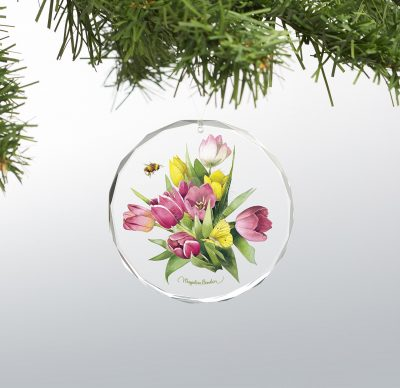 "Tulip Treasure - 3"" x 3"" Round Glass Ornament"