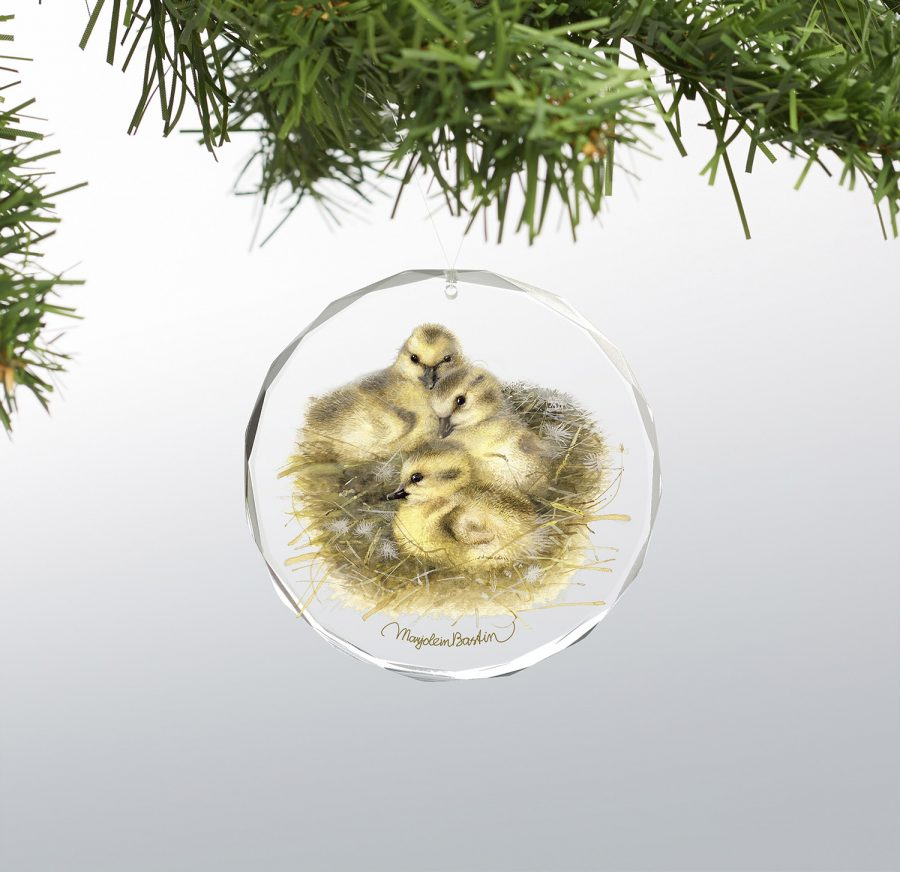 "Gosling Parade - 3"" x 3"" Round Glass Ornament"